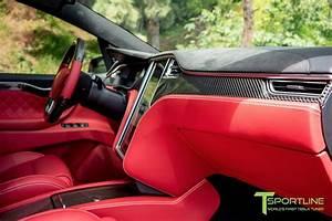 Black Tesla Model X - Custom Bentley Red Interior – TSportline.com - Tesla Model S, X & 3 ...