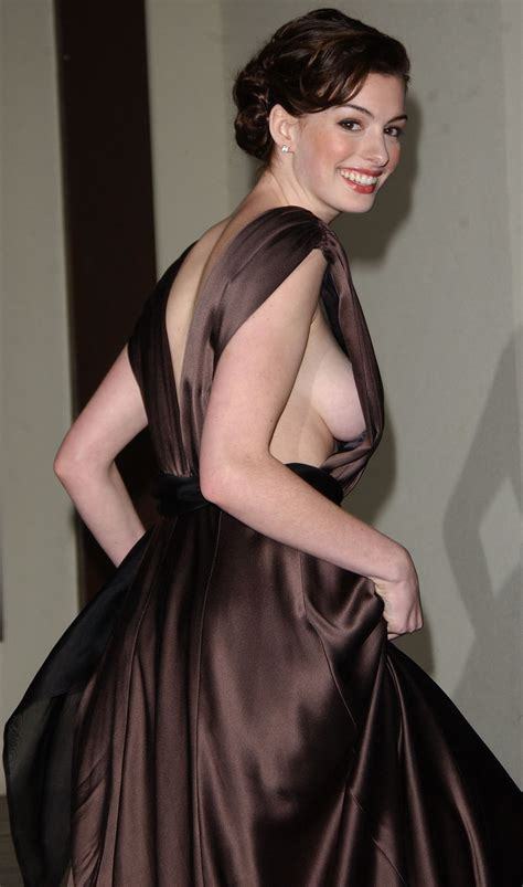 Anne Hathaway No Bra Nip Slip See Through Shirt Shows Tits