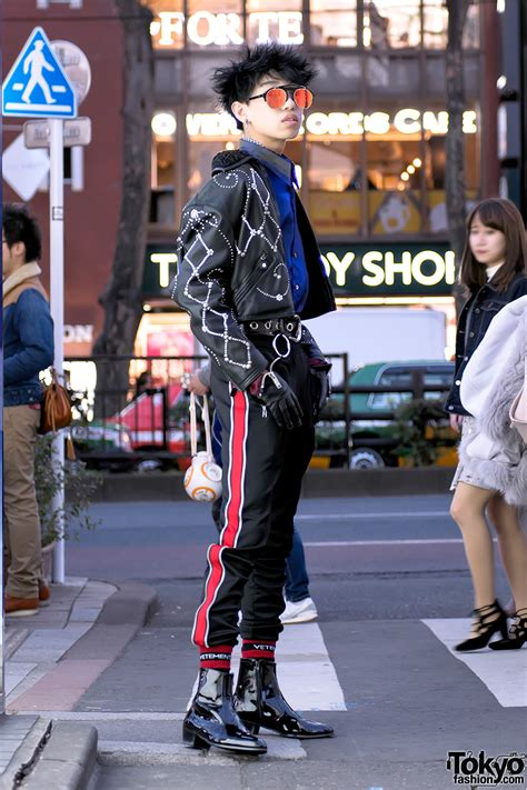harajuku guy  versace madonna child leather jacket ysl  alice black tokyo fashion