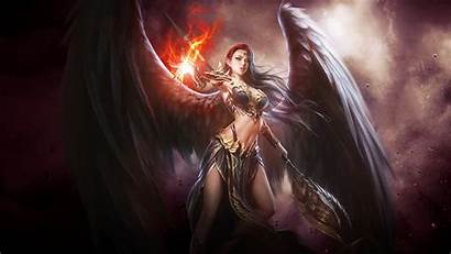 Angel Wings Fire Warrior Fantasy Dark Desktop