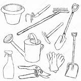 Tools Coloring Pages Garden Gardening Tool Vector Illustration Printable Drawing Glorcza Depositphotos Getcolorings Getdrawings Again Bar Looking Case Don sketch template