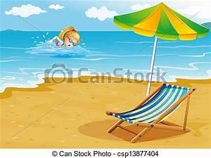 Vector Clipart van paraplu, illustratie, Oever, meisje ...