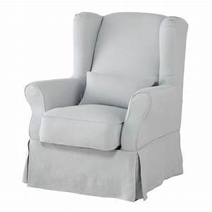 Housse De Fauteuil : housse de fauteuil en lin lav bleu glacier cottage maisons du monde ~ Teatrodelosmanantiales.com Idées de Décoration