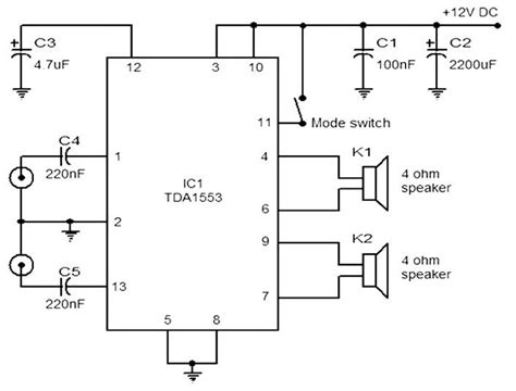 Car Stereo Amplifier Based Tda Circuit Wiring Diagrams
