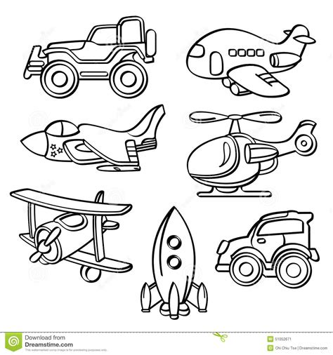 Transportation Toys Collection Stock Illustration