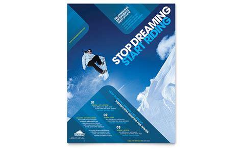 ski snowboard instructor flyer template design