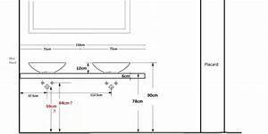 projet salle de bain hauteur plan vasque hauteur With hauteur meuble salle de bain vasque