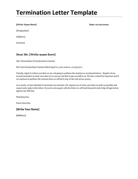 sample letter to terminate contract business termination letter template or samples for your