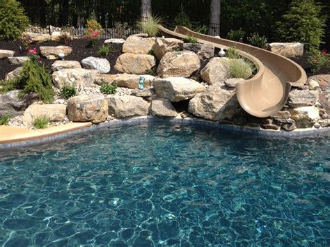 stroud township salt water pool with spa sunshelf slide
