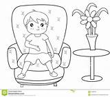 Sitting Coloring Sofa Boy Pages Body Useful Template Illustration Female Sketch Drawings Templates Dreamstime sketch template