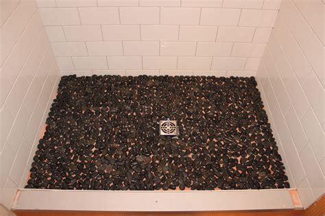 Backsplash Tile For Bathrooms by Subway Shower With River Rock Floor