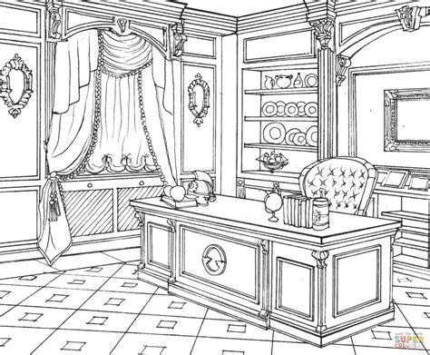 kitchen for adults cabinet in classic interior design coloring page free