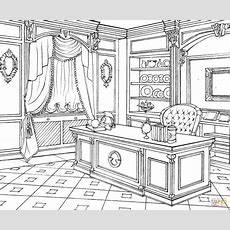 Cabinet In Classic Interior Design Coloring Page  Free