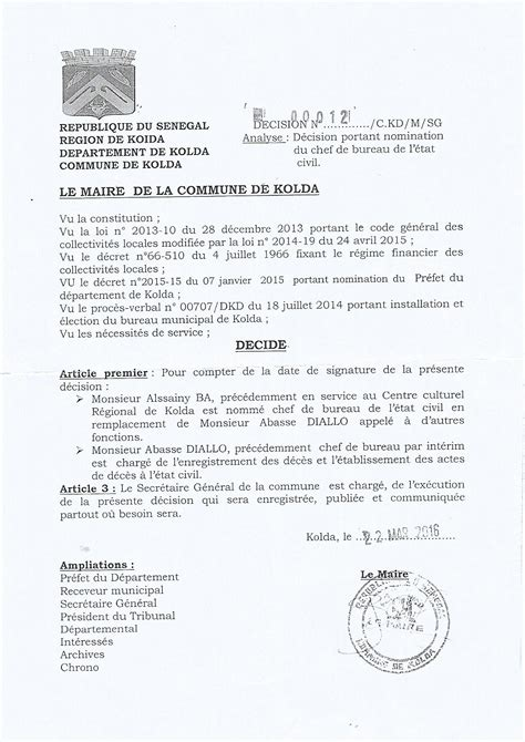 bureau de l 騁at civil notification de la décision portant nomination du chef du bureau de l état civil de kolda par mr le maire bibi balde