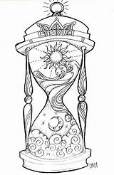 Hourglass Tattoo Coloring Drawings Printable Adult Tattoos Colouring Night sketch template
