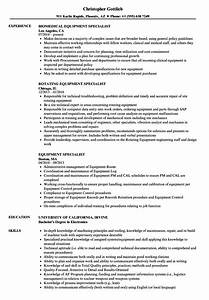 Equipment Specialist Resume Samples