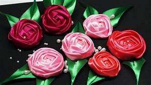 DIY crafts Flower making. How to make satin ribbon roses ...