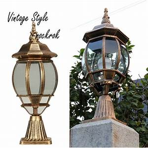 vintage bronze outdoor pillar lamp fence post cap With german outdoor lighting companies