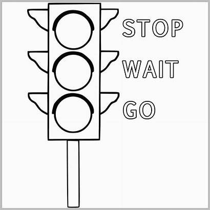 Traffic Coloring Signal Drawing Lights Stop Pages