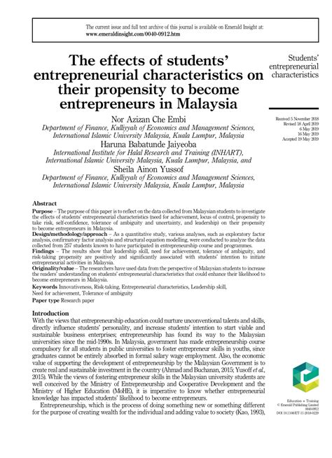 effects  students entrepreneurial
