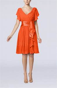 tangerine romantic short sleeve zip up knee length sash With tangerine dresses for wedding