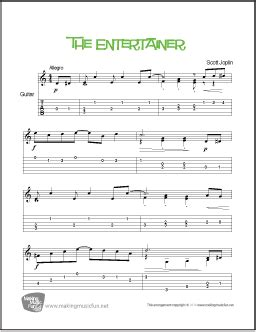 It gives you an easy piano sheet music arrangement of scott joplin's the entertainer, plus a composer biography and two activity worksheets. The Entertainer from 'The Sting'   Easy Guitar Sheet Music