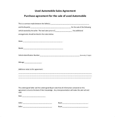 sales agreement template  word  google docs