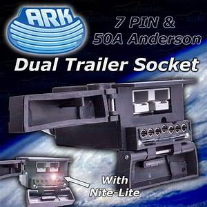 Ark Dual Trailer Socket 7 Pin Flat  U0026 50a Anderson Plug