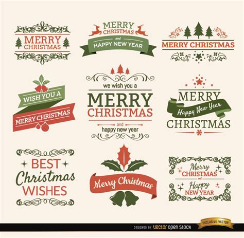 merry christmas ribbons and labels vector download