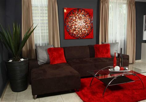 Red And Brown Living Room With Elegant And Visually