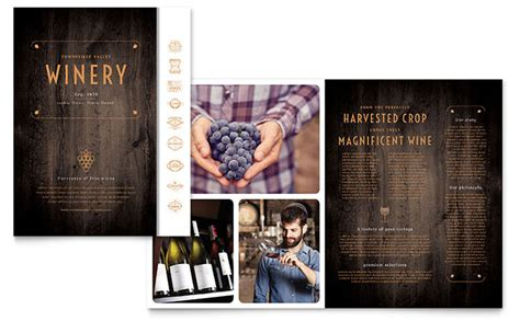 Wine Brochure Template Free by Winery Brochure Template Design