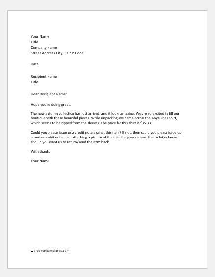 debit note rejection letter samples word excel templates