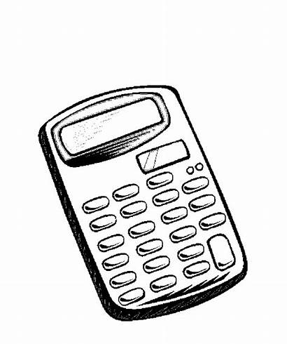 Calculator Coloring Supplies Pages Printable Drawing Things