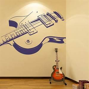 Electric Guitar Wall Sticker Rock Music Wall Decal Kids