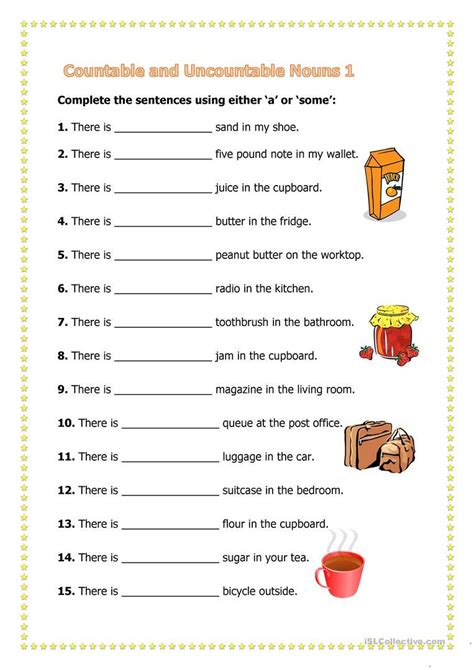 printable worksheets countable uncountable nouns letter