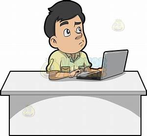 A Man Thinking Of Ideas While Using His Laptop Cartoon ...