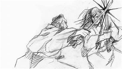 Samurai Anime Cool Drawn Hand Ain Manga