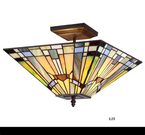 stained glass hanging light fixture ceiling fixture 2 light mission tiffany style lighting