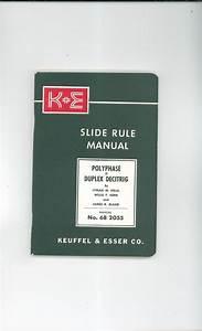 Keuffel  U0026 Esser Slide Rule Manual With Srt Scale  U0026 Care