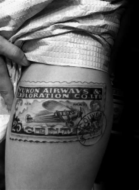 20 Postage Stamp Tattoo Designs For Men - Traveler Ink Ideas