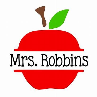 Apple Decal Teacher Silhouette Cricut Monogram Clip