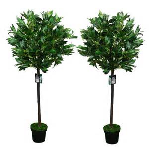 pair of 2 4ft artificial bay leaf tree indoor or outdoor decorative plant 120cm ebay