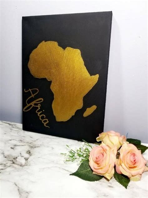 Africa map art poster print wall decor travel map office home gift everydayposter. African map canvas art Gold African map wall decor African ...