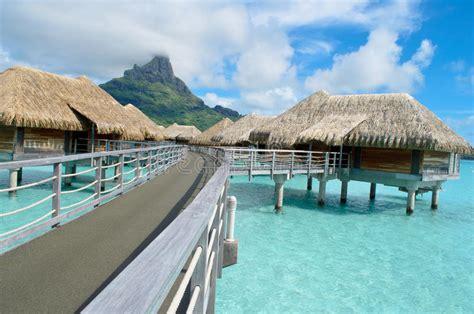 Luxury Overwater Vacation Resort On Bora Bora Stock Photo