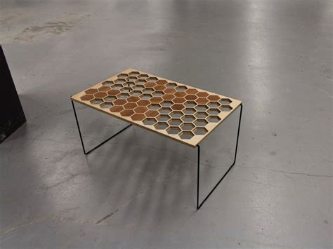 Hexagonal Sofa by Wooden Table With Unique Surface Of Honeycomb Pattern