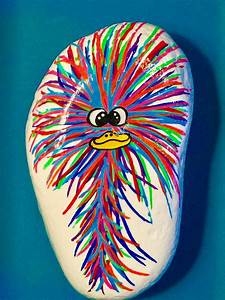 Funny, Crazy, Haired, Bird, Painted, Rock