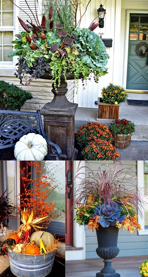 beautiful fall planters  easy outdoor fall decorations  piece  rainbow