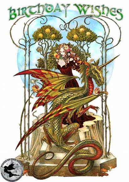 Birthday Wishes Dragon Card Firedrake Greeting Garden