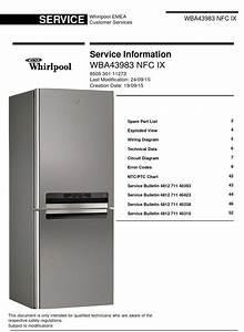 Whirlpool Wba43983 Nfc Ix Refrigerator Service Manual