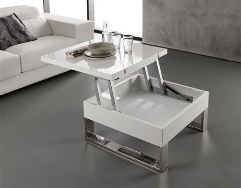 Table Basse Blanc Laqué Relevable Extensible